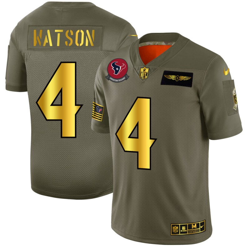Men's Houston Texans #4 Deshaun Watson 2019 Olive/Gold Salute To Service Limited Stitched NFL Jersey