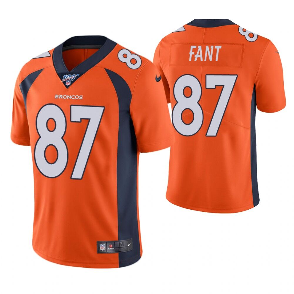 Men's Denver Broncos #87 Noah Fant Orange 2019 100th Season Vapor Untouchable Limited Stitched NFL Jersey