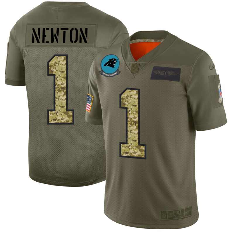 Men's Carolina Panthers #1 Cam Newton 2019 Olive/Camo Salute To Service Limited Stitched NFL Jersey