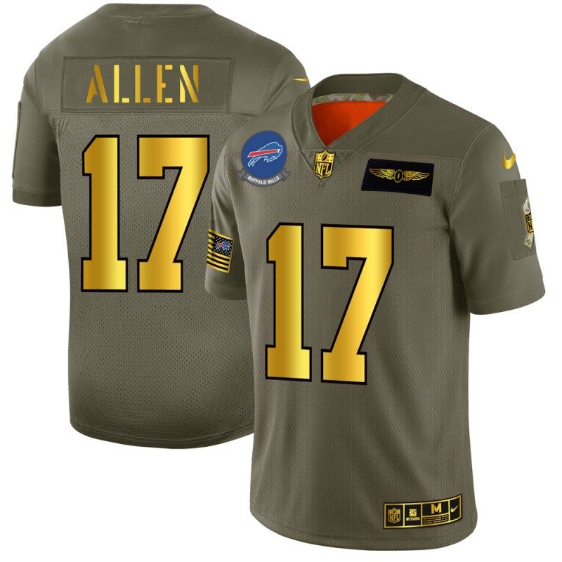 Men's Buffalo Bills #17 Josh Allen 2019 Olive/Gold Salute To Service Limited Stitched NFL Jersey