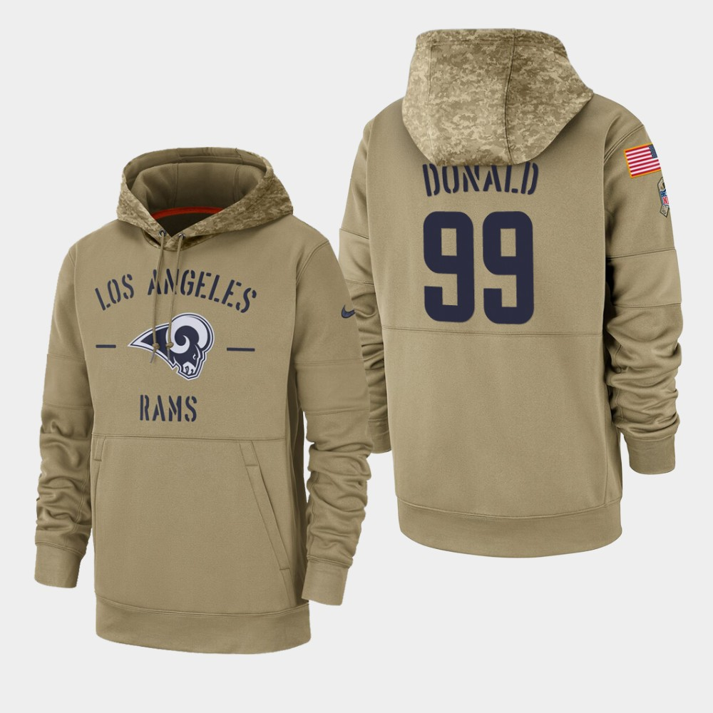 Men's Los Angeles Rams #99 Aaron Donald Tan 2019 Salute to Service Sideline Therma Pullover Hoodie