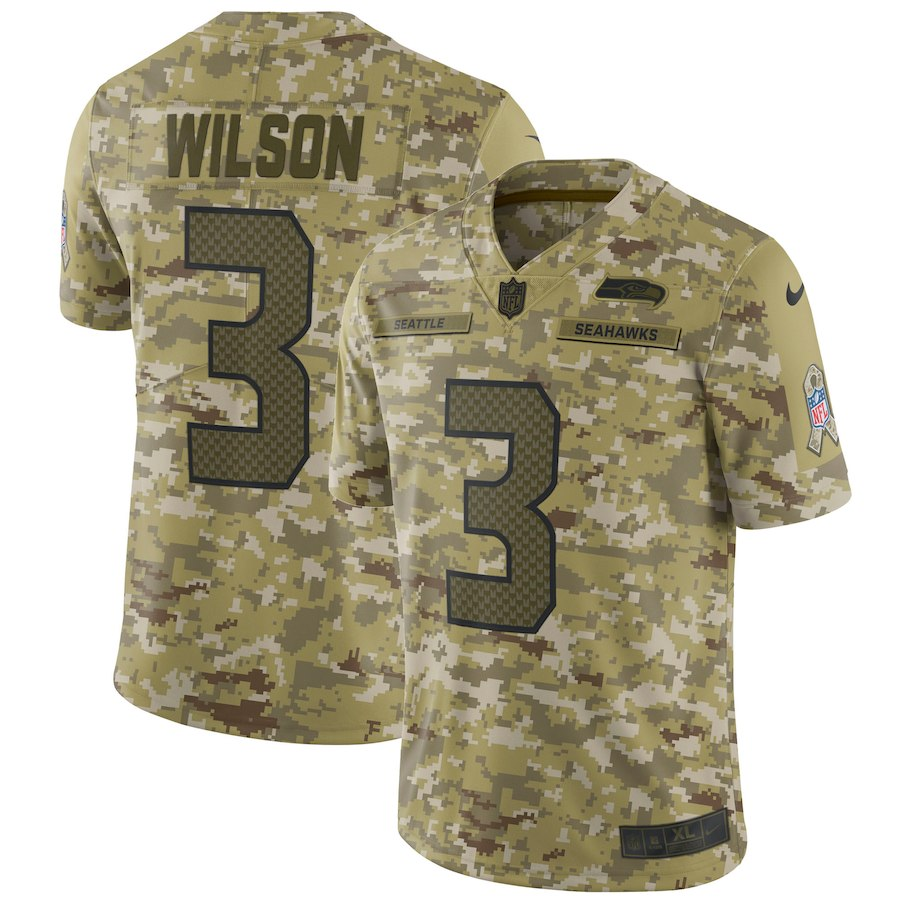 Men's Seattle Seahawks #3 Russell Wilson 2018 Camo Salute to Service Limited Stitched NFL Jersey