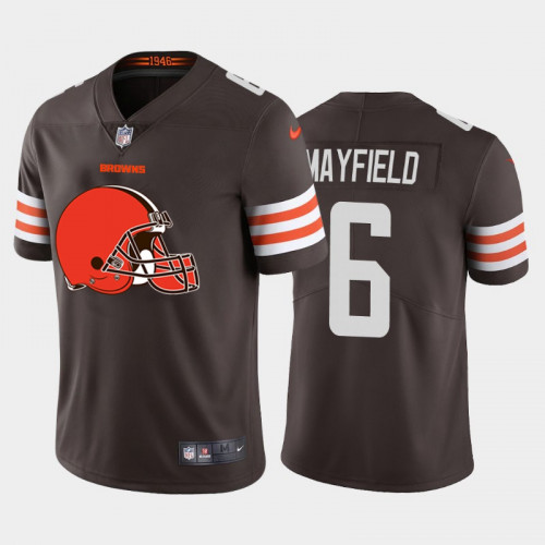 Men's Cleveland Browns #6 Baker Mayfield. Brown 2020 Team Big Logo Limited Stitched Jersey