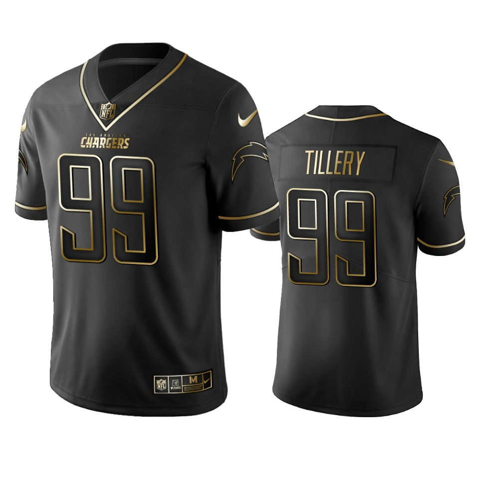 Men's Los Angeles Chargers #99 Jerry Tillery 2019 Black Gold Edition Stitched NFL Jersey