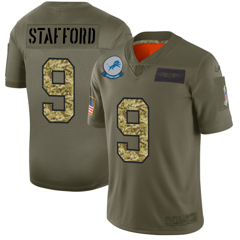 Men's Detroit Lions #9 Matthew Stafford 2019 Olive/Camo Salute To Service Limited Stitched NFL Jersey