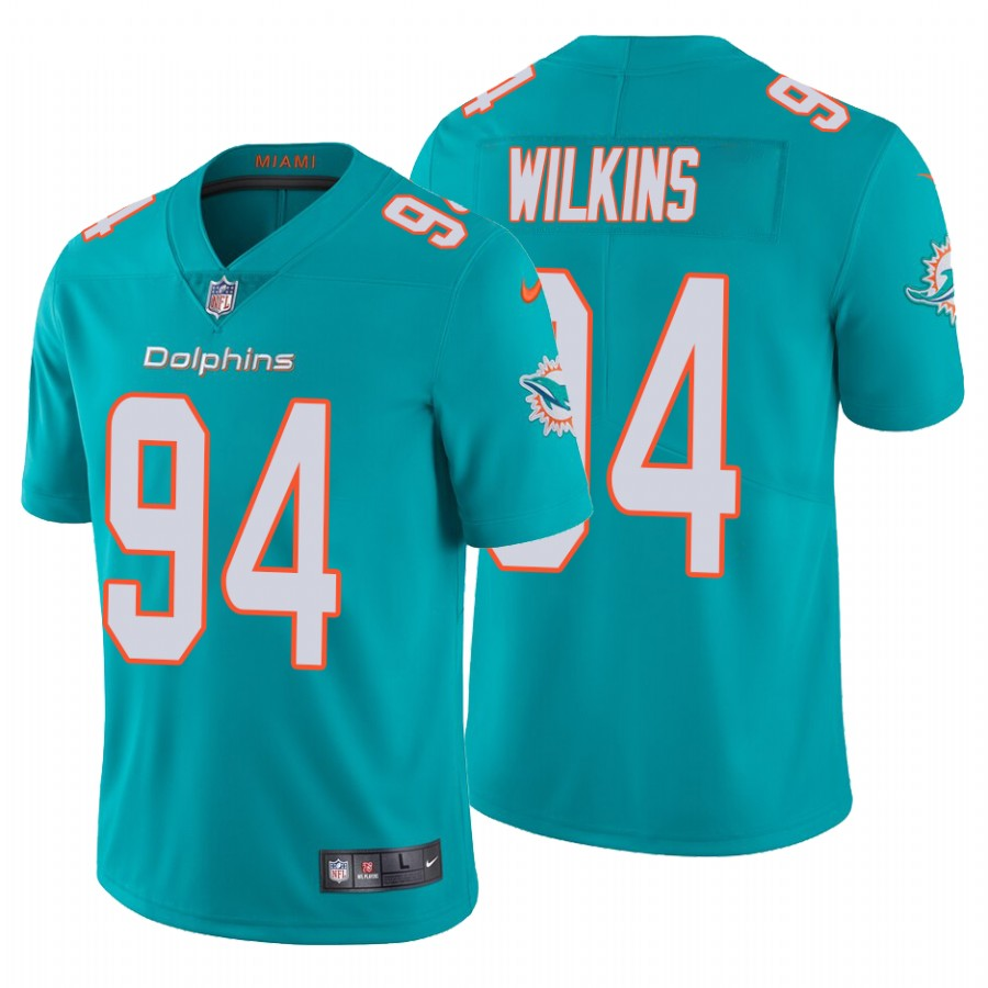 Men's Miami Dolphins #94 Christian Wilkins 2020 Aqua Vapor Limited Stitched Jersey