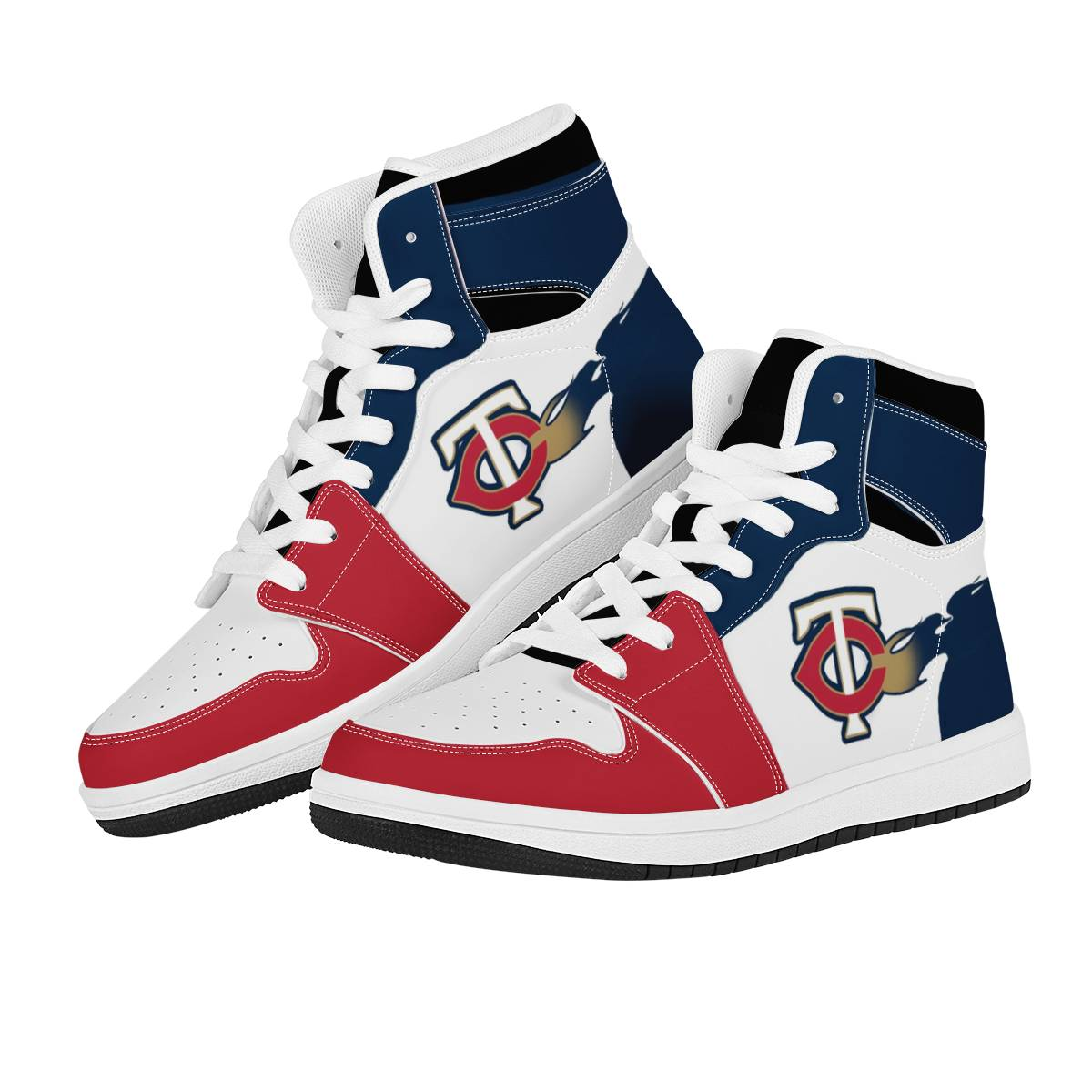 Men's Minnesota Twins High Top Leather AJ1 Sneakers 001
