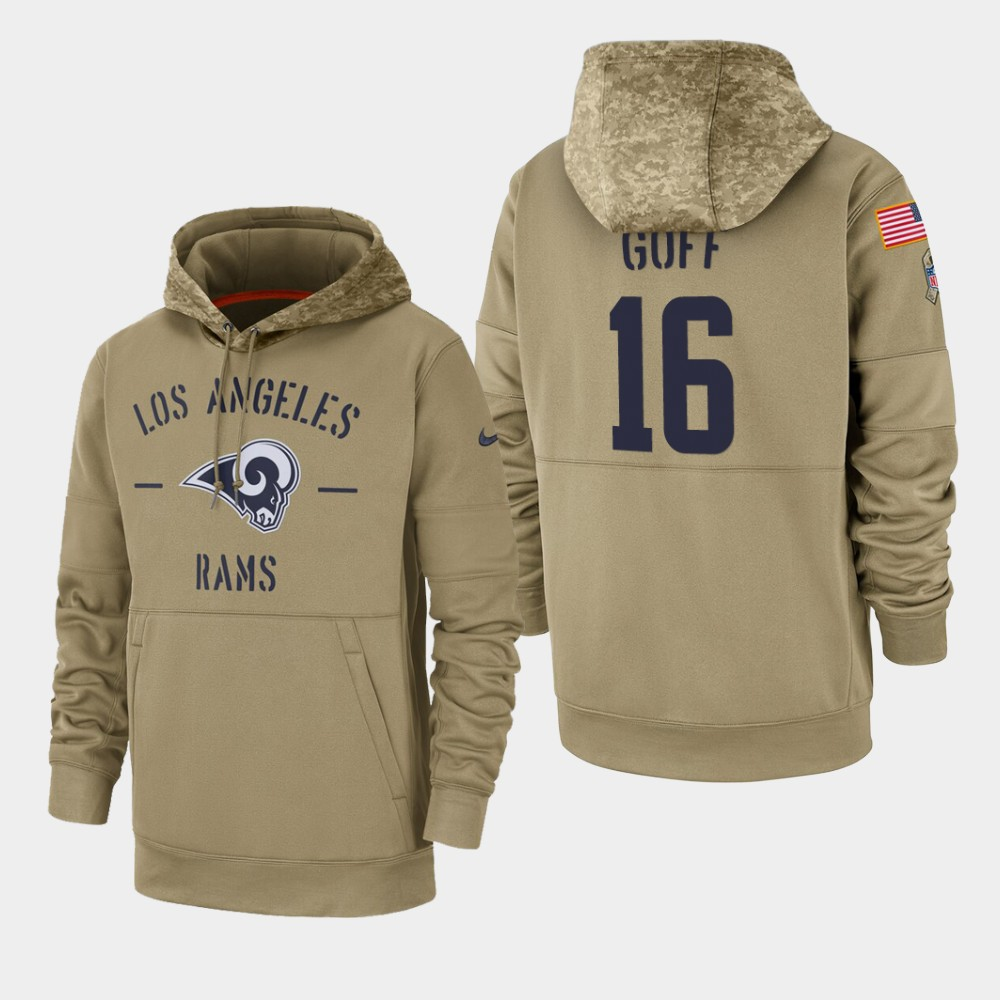 Men's Los Angeles Rams #16 Jared Goff Tan 2019 Salute to Service Sideline Therma Pullover Hoodie