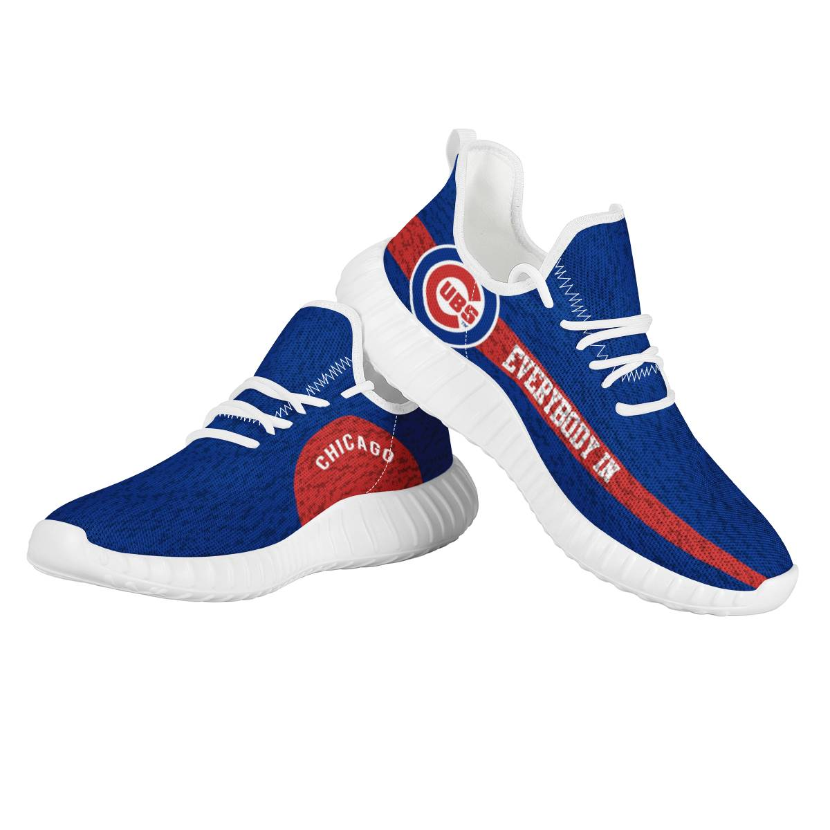 Women's Chicago Cubs Mesh Knit Sneakers/Shoes 011