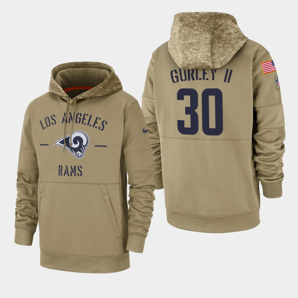 Men's Los Angeles Rams #30 Todd Gurley II Tan 2019 Salute to Service Sideline Therma Pullover Hoodie
