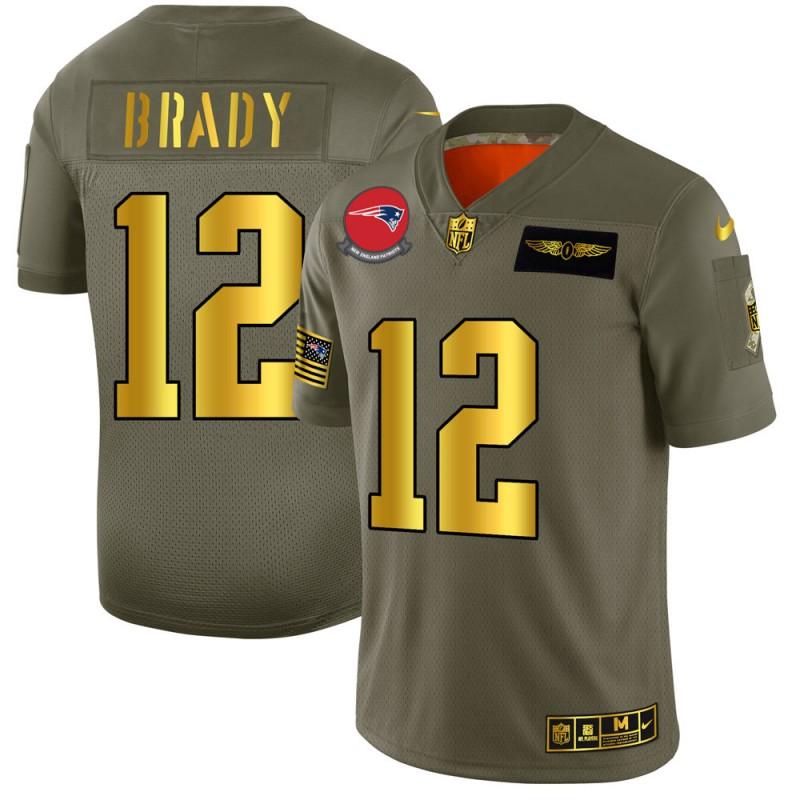 Men's New England Patriots #12 Tom Brady 2019 Olive/Gold Salute To Service Limited Stitched NFL Jersey