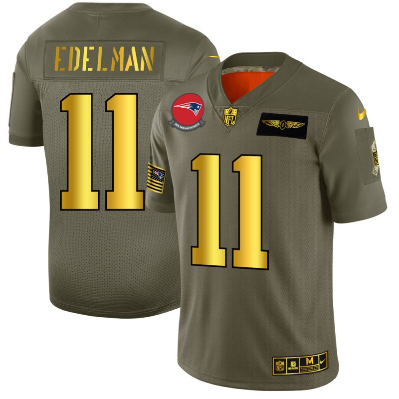Men's New England Patriots #11 Julian Edelman 2019 Olive/Gold Salute To Service Limited Stitched NFL Jersey