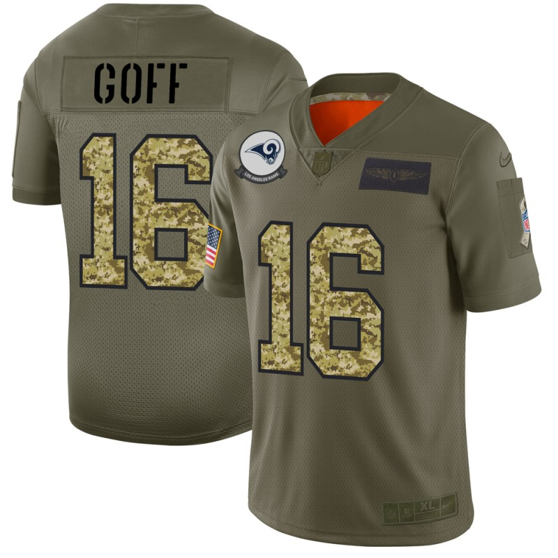 Men's Los Angeles Rams #16 Jared Goff 2019 Olive/Camo Salute To Service Limited Stitched NFL Jersey