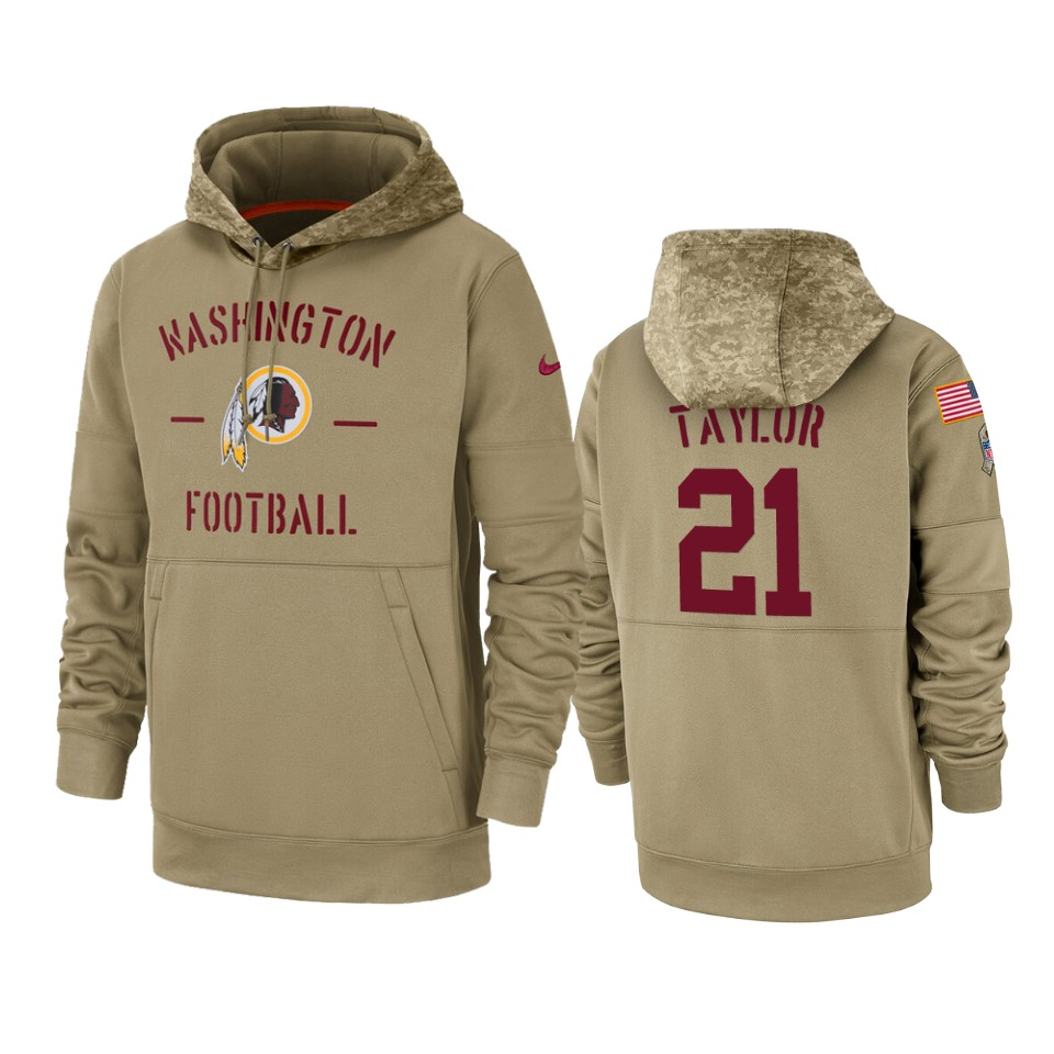 Men's Washington Redskins #21 Sean Taylor Tan 2019 Salute to Service Sideline Therma Pullover Hoodie