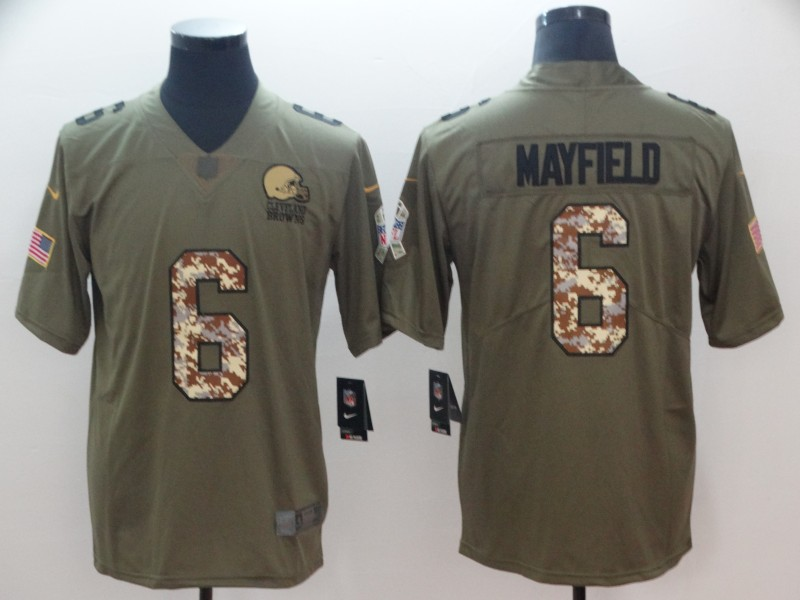 Men's Cleveland Browns #6 Baker Mayfield Green Salute To Service Limited Stitched NFL Jersey