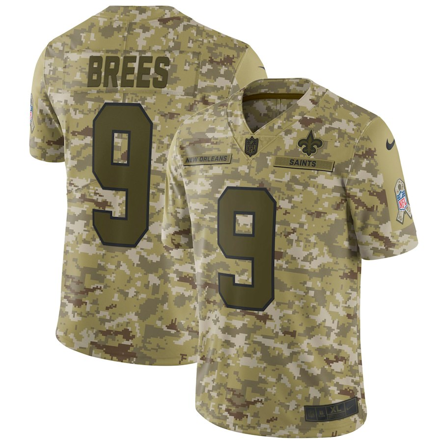Men's New Orleans Saints #9 Drew Brees 2018 Camo Salute to Service Limited Stitched NFL Jersey