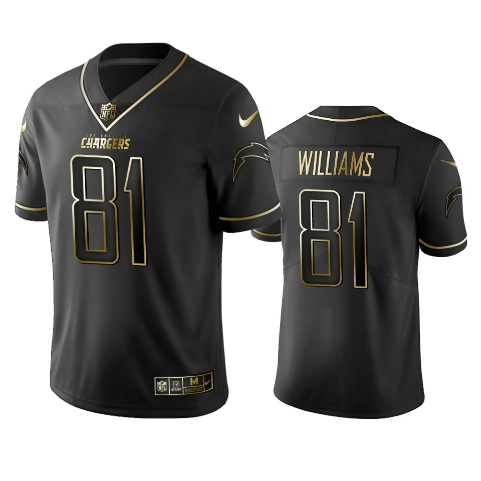 Men's Los Angeles Chargers #81 Mike Williams 2019 Black Gold Edition Stitched NFL Jersey