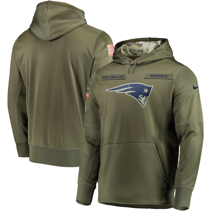 Men's New England Patriots 2018 Olive Salute to Service Sideline Therma Performance Pullover Stitched NFL Hoodie