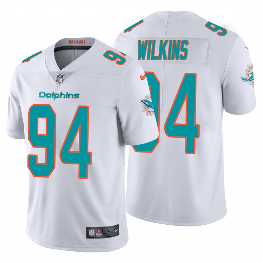 Men's Miami Dolphins #94 Christian Wilkins 2020 White Vapor Limited Stitched Jersey