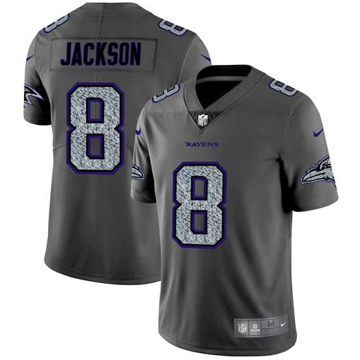 Men's Baltimore Ravens #8 Lamar Jackson 2019 Gray Fashion Static Limited Stitched NFL Jersey