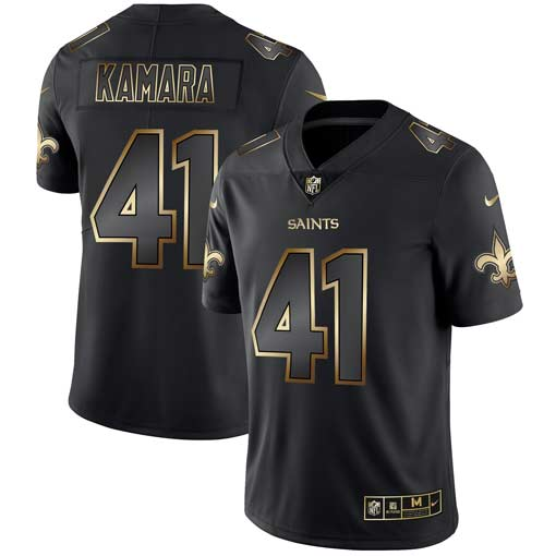 Men's New Orleans Saints #41 Alvin Kamara 2019 Black Gold Edition Stitched NFL Jersey