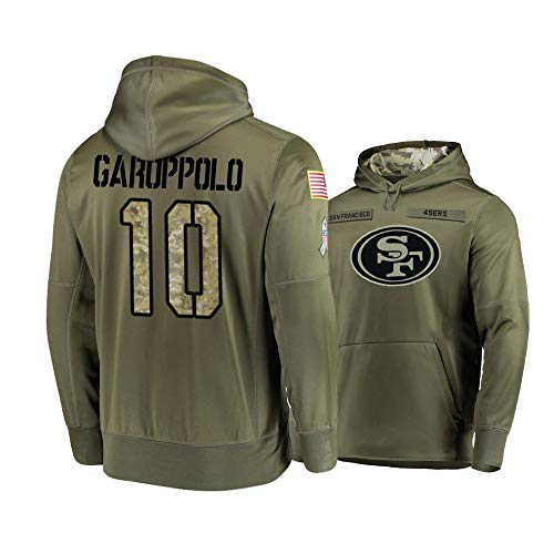 Men's San Francisco 49ers #10 Jimmy Garoppolo 2019 Olive Salute To Service Sideline Therma Performance Pullover Hoodie
