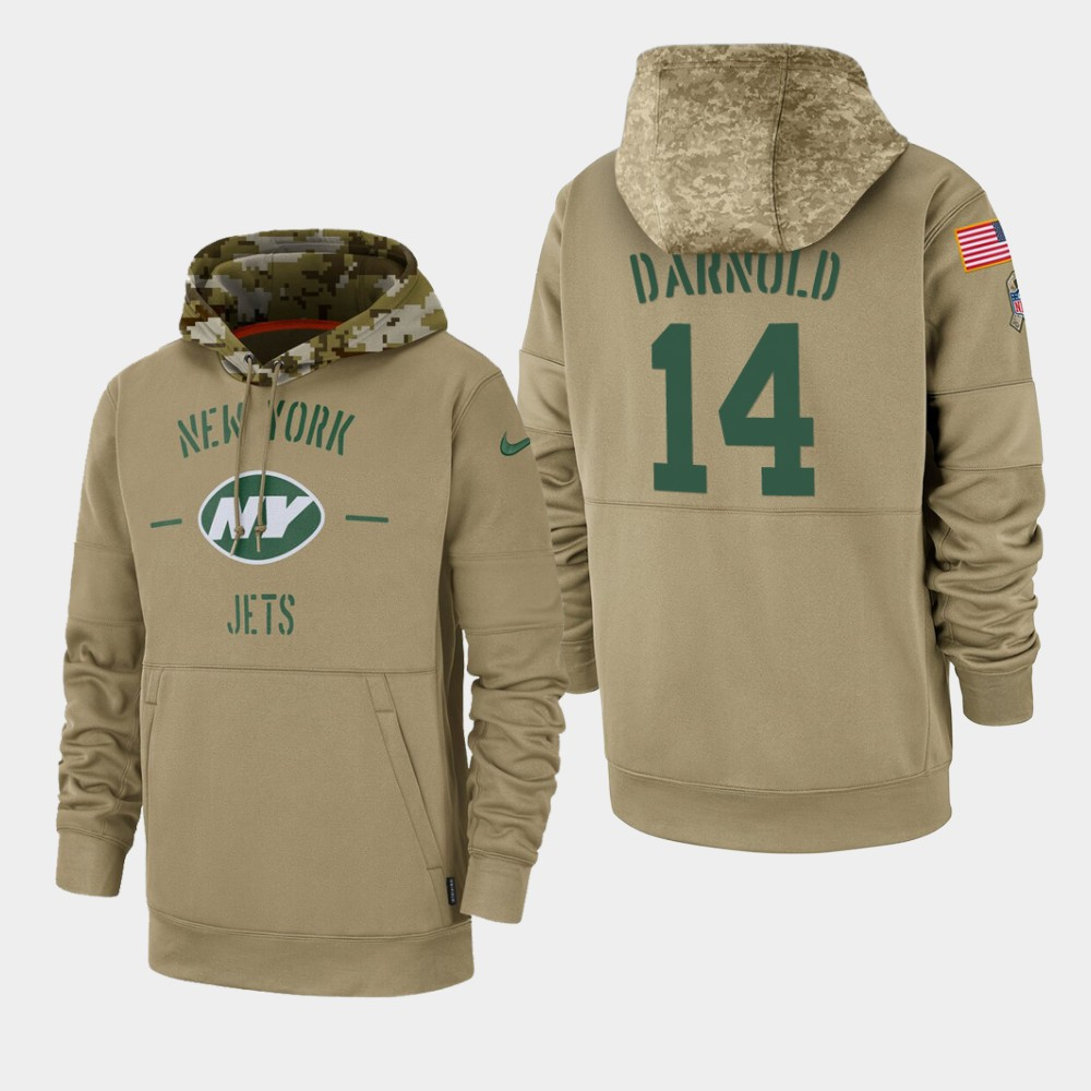 Men's New York Jets #14 Sam Darnold Tan 2019 Salute to Service Sideline Therma Pullover Hoodie