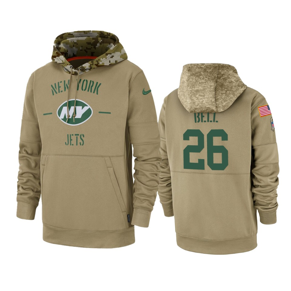 Men's New York Jets #26 Le'Veon Bell Tan 2019 Salute to Service Sideline Therma Pullover Hoodie