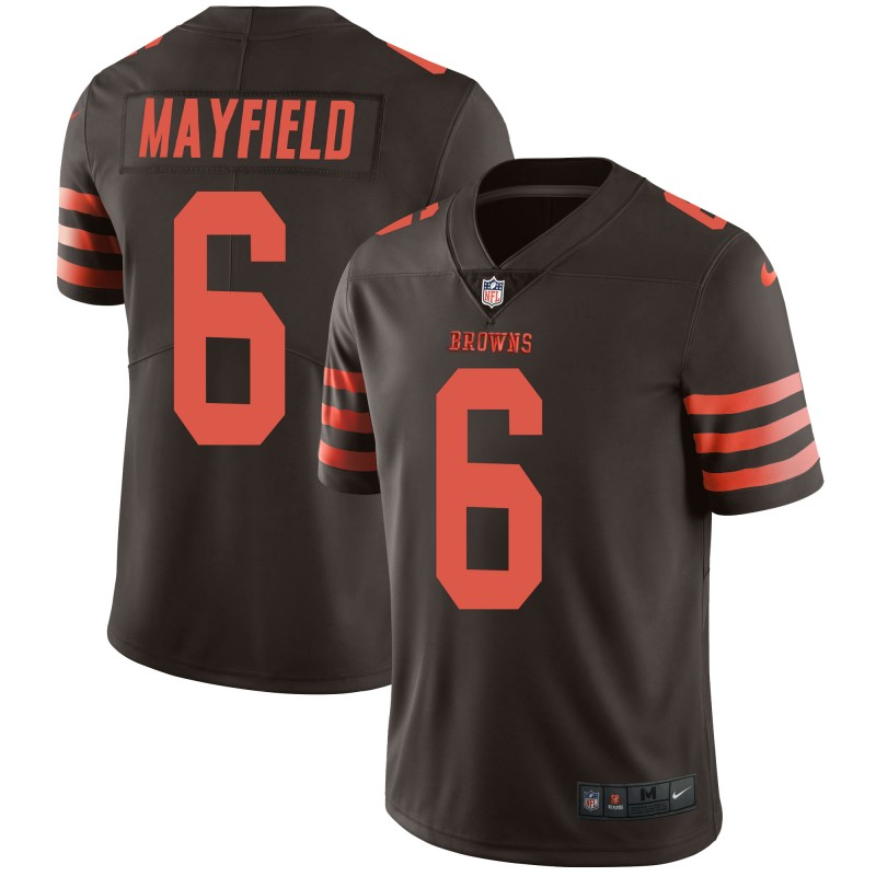 Men's Cleveland Browns #6 Baker Mayfield Brown Throwback Color Rush Limited Stitched NFL Jersey