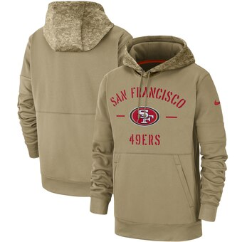 Men's San Francisco 49ers Tan 2019 Salute to Service Sideline Therma Pullover Hoodie