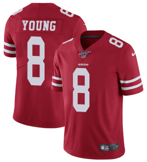 Men's San Francisco 49ers #8 Steve Young Red 2019 100th season Vapor Untouchable Limited Stitched NFL Jersey