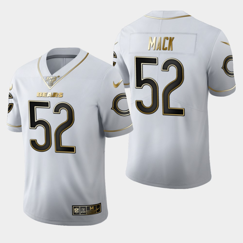 Men's Chicago Bears #52 Khalil Mack White 2019 100th Season Golden Edition Limited Stitched NFL Jersey