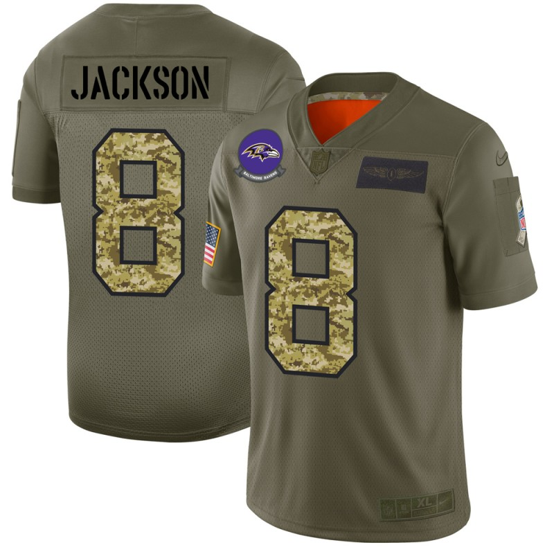 Men's Baltimore Ravens #8 Lamar Jackson 2019 Olive/Camo Salute To Service Limited Stitched NFL Jersey