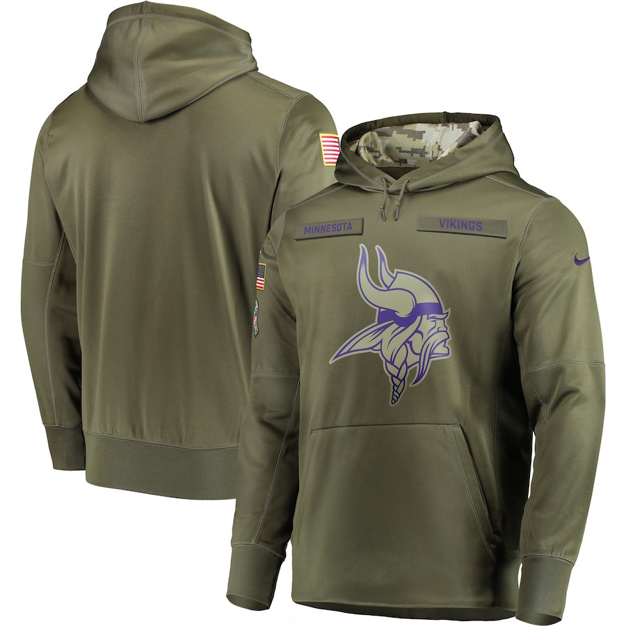 Men's Minnesota Vikings 2018 Olive Salute to Service Sideline Therma Performance Pullover Stitched NFL Hoodie