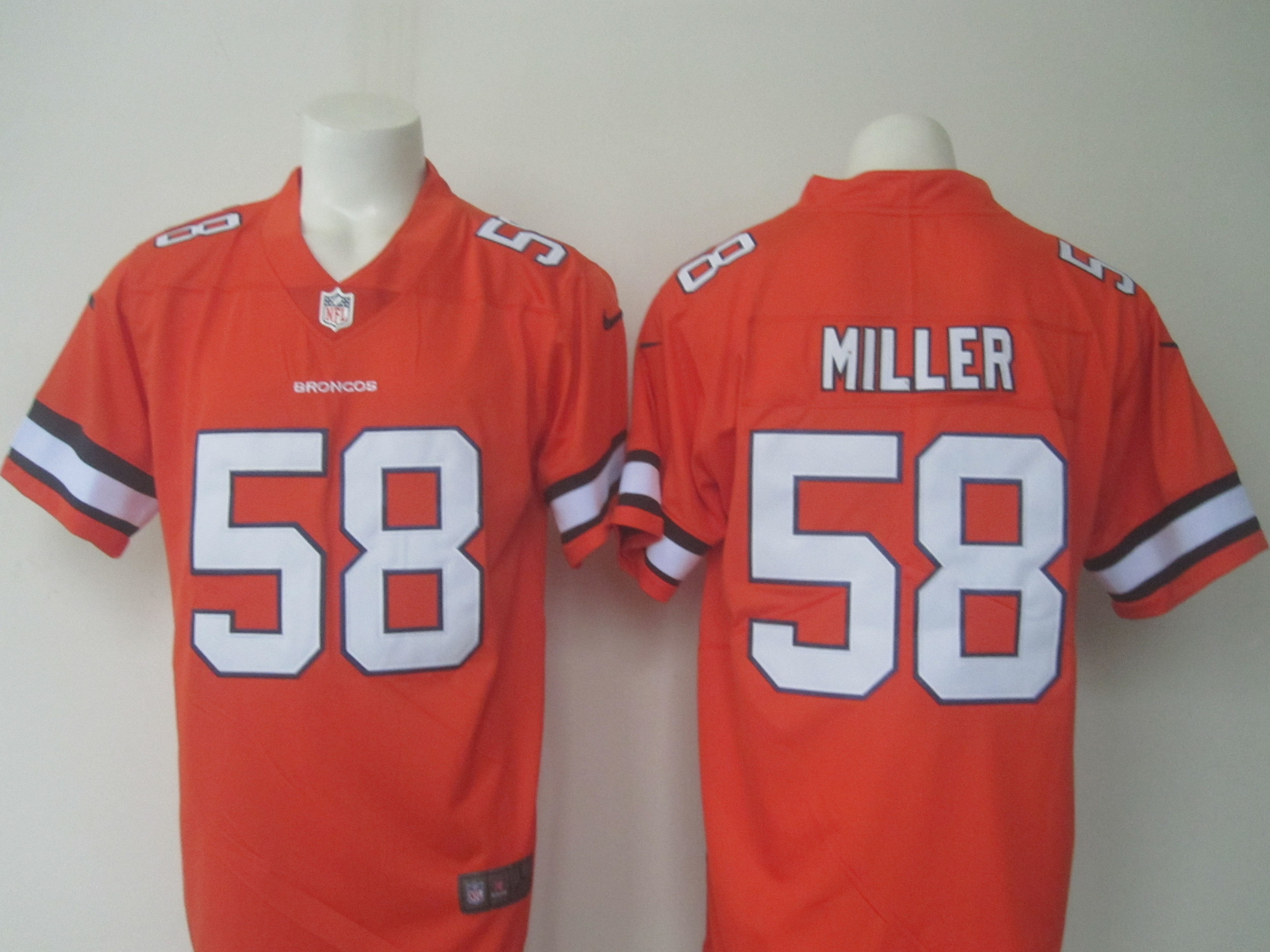 Men's Nike Broncos #58 Von Miller Orange Limited Rush Stitched NFL Jersey