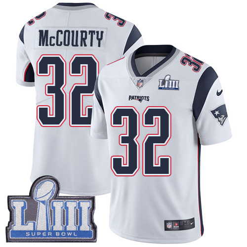 Men's New England Patriots #32 Devin McCourty White Super Bowl LIII Vapor Untouchable Limited Stitched NFL Jersey