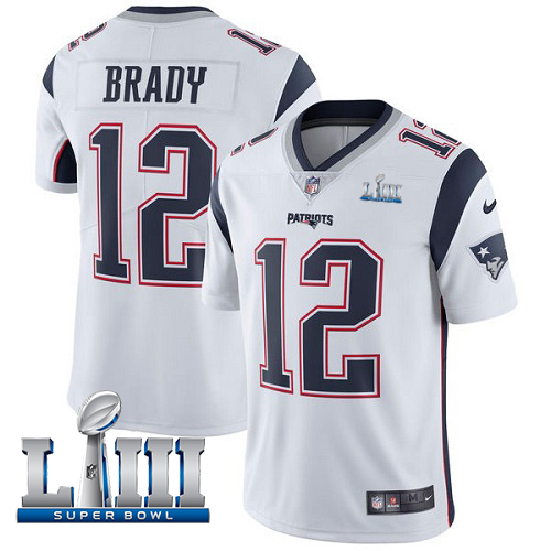 Men's New England Patriots #12 Tom Brady White Super Bowl LIII Vapor Untouchable Limited Stitched NFL Jersey