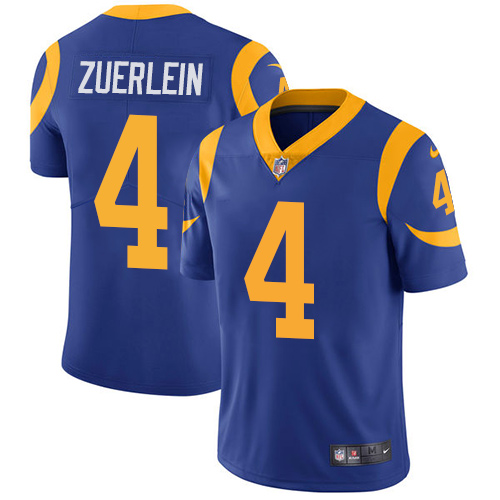 Men's Los Angeles Rams #4 Greg Zuerlein Royal Blue Vapor Untouchable Limited Stitched NFL Jersey