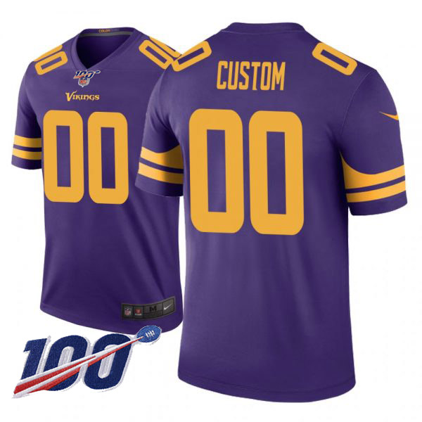 Men's Minnesota Vikings ACTIVE PLAYER Custom Color Rush 100th Season Limited Stitched NFL Jersey