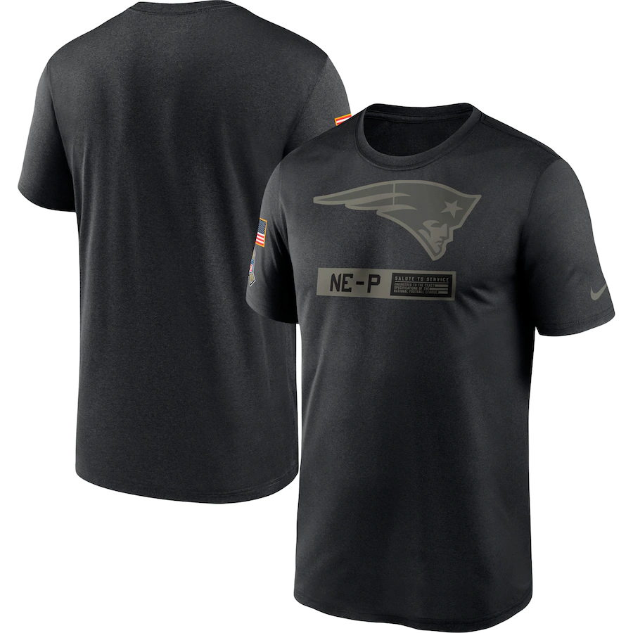 Men's New England Patriots 2020 Black Salute To Service Performance T-Shirt
