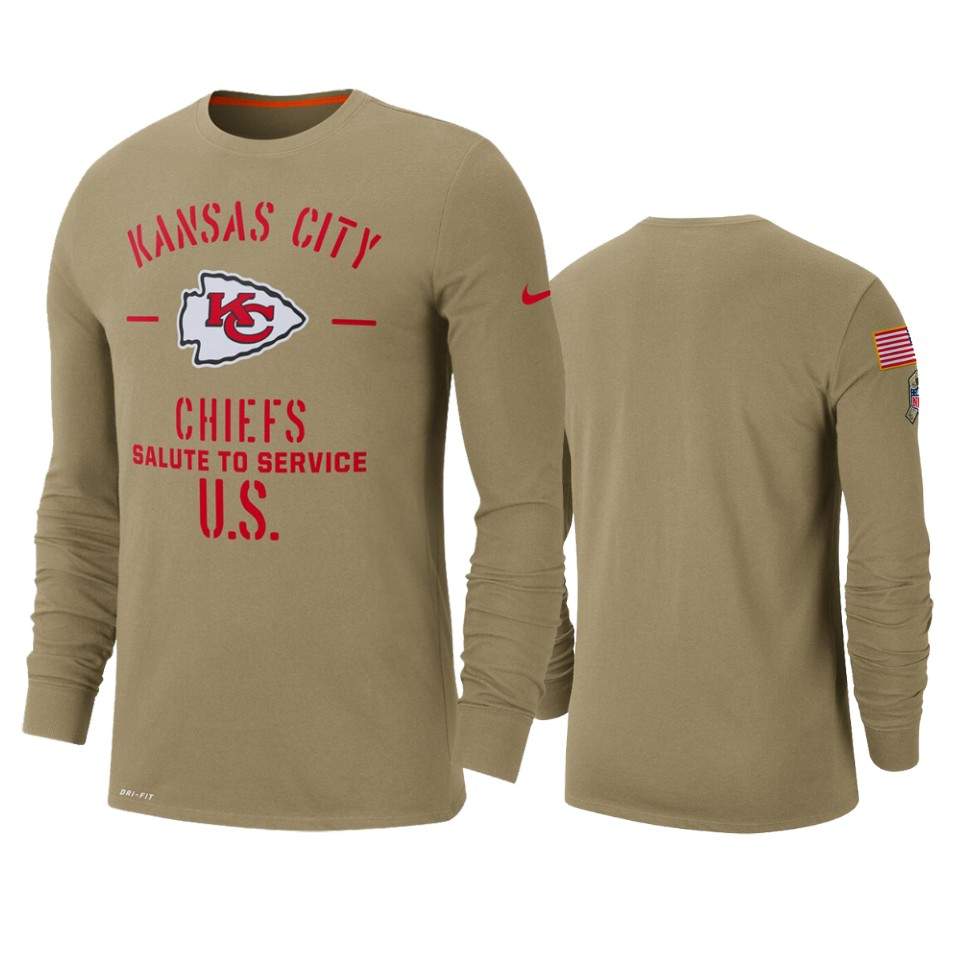Men's Kansas City Chiefs Tan 2019 Salute to Service Sideline Performance Long Sleeve Shirt