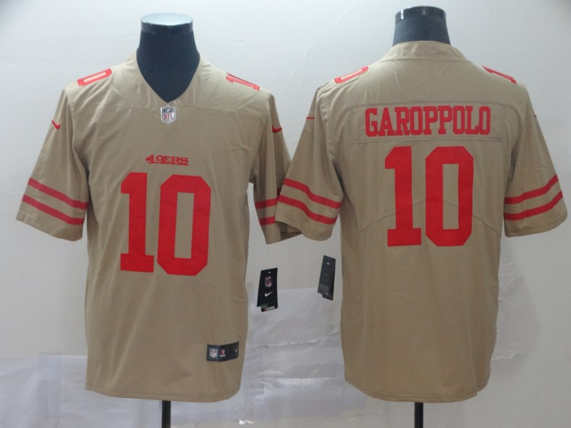Men's San Francisco 49ers #10 Jimmy Garoppolo Gold Inverted Legend Stitched NFL Jersey