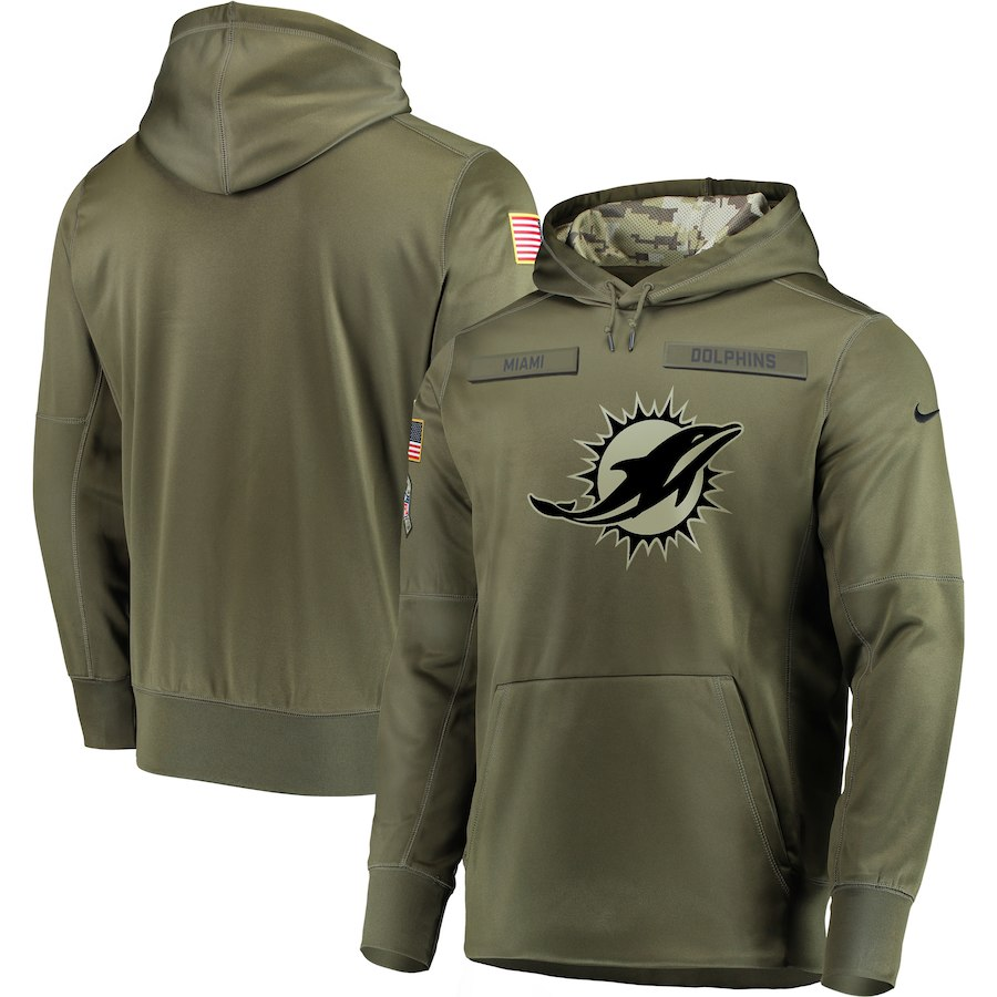 Men's Miami Dolphine 2018 Olive Salute to Service Sideline Therma Performance Pullover Stitched NFL Hoodie
