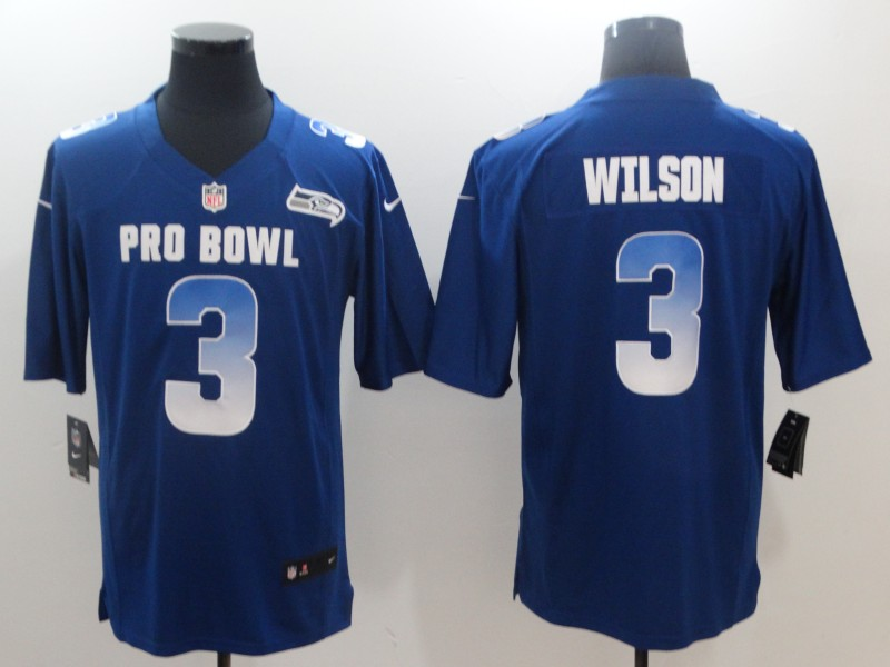Men's NFC Seattle Seahawks #3 Russell Wilson Royal 2019 Pro Bowl NFL Game Jersey