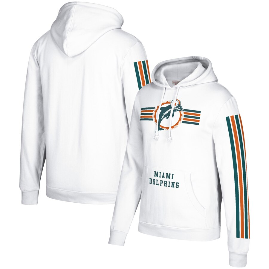 Men's Miami DolphinsMiami Dolphins 2019 White Mitchell & Ness Three Stripe Pullover Hoodie