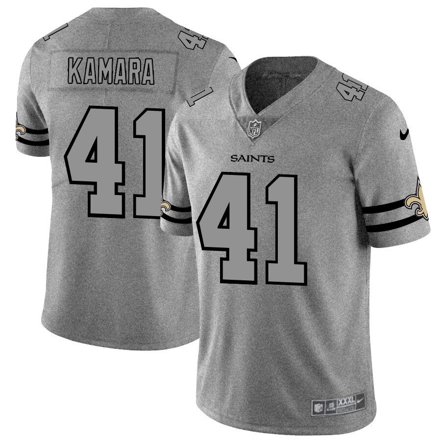 Men's New Orleans Saints #41 Alvin Kamara 2019 Gray Gridiron Team Logo Limited Stitched NFL Jersey