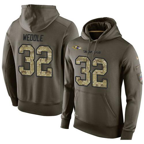 NFL Men's Nike Baltimore Ravens #32 Eric Weddle Stitched Green Olive Salute To Service KO Performance Hoodie