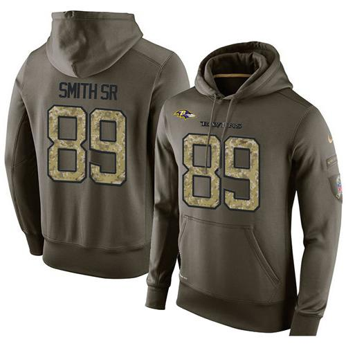 NFL Men's Nike Baltimore Ravens #89 Steve Smith Sr Stitched Green Olive Salute To Service KO Performance Hoodie
