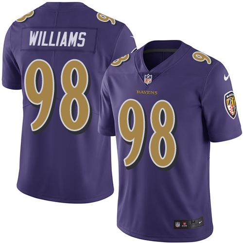Nike Ravens #98 Brandon Williams Purple Men's Stitched NFL Limited Rush Jersey