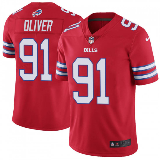 Men's Buffalo Bills #91 Ed Oliver Red Vapor Untouchable Limited Stitched NFL Jersey